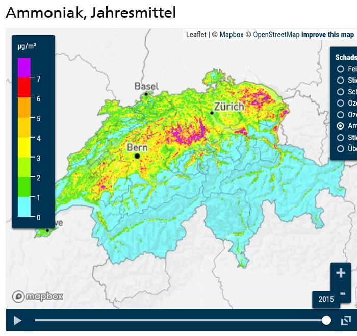 Rund 93 % der gesamtschweizerischen Ammoniakemissionen stammen aus der Landwirtschaft.